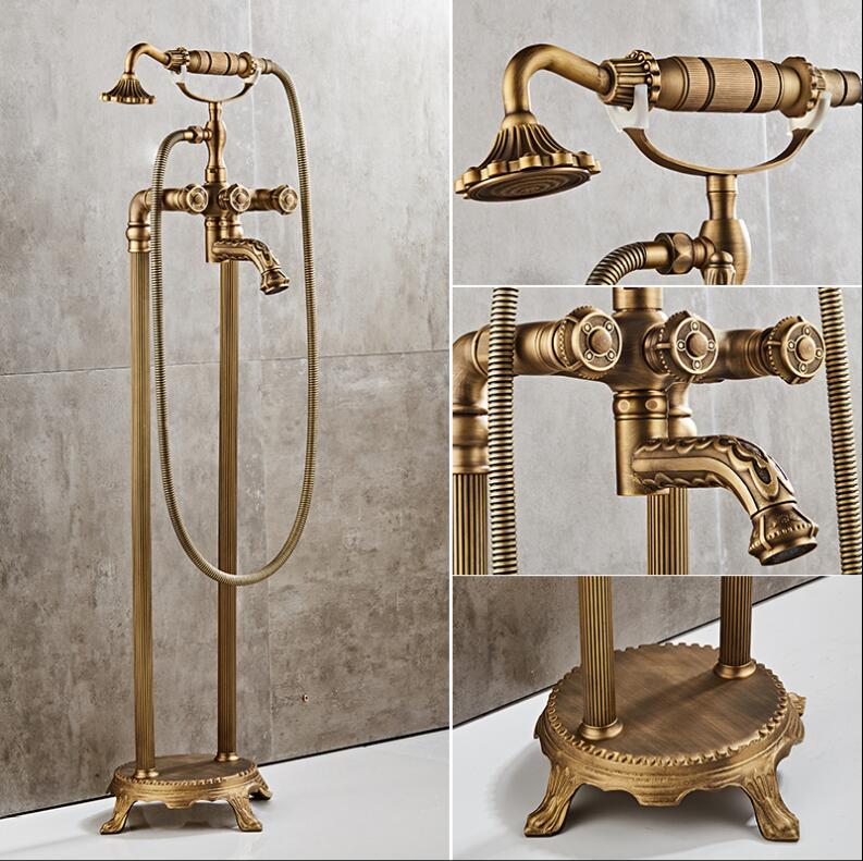 Grifo de bañera tallado de latón macizo, grifo de bañera antiguo con doble MANGO y grúa de ducha de mano