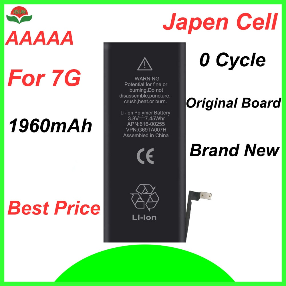 ISUN original quality  0 cycle mobile battery for iPhone battery 7 7G 4.7'' 1960mAh 3.82V battery replacement
