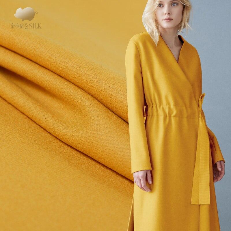 Tela de lana de punto de un lado engrosamiento 730 g de tejido de lana de doble cara ropa de otoño e invierno Paño de lana de tela de lana amarilla