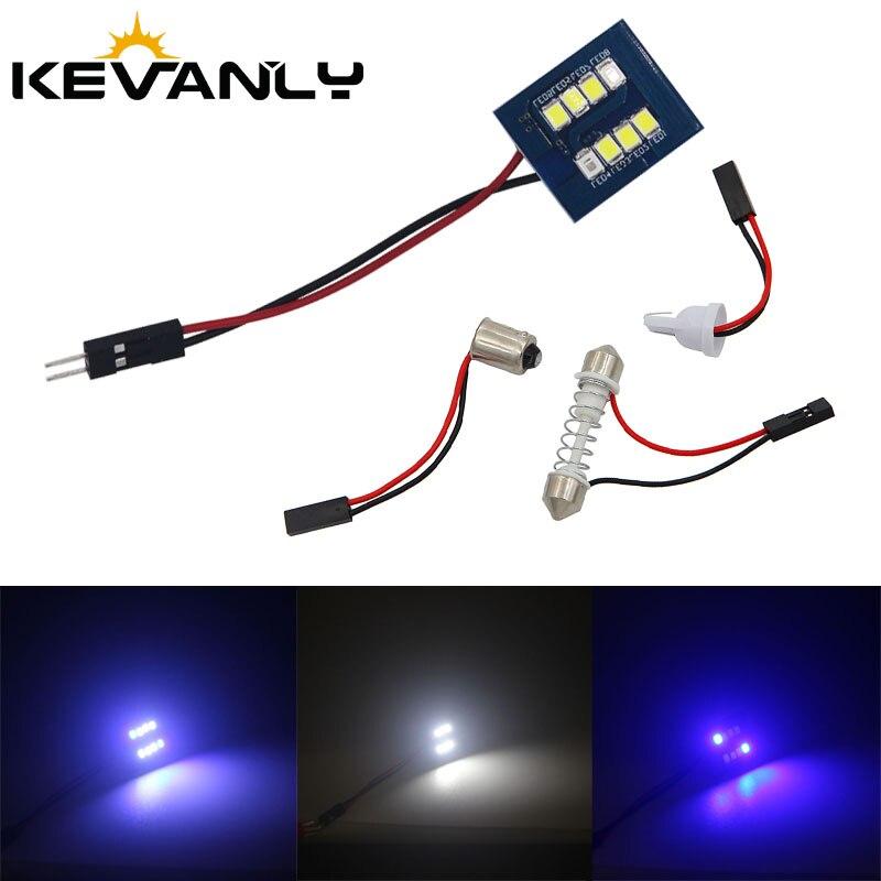 1 unidad nueva C5W led T10 BA9S socket 8SMD2835 Chip bombilla de adorno LED luz de techo de automóvil No Error Lámpara de lectura Interior de coche blanco azul hielo