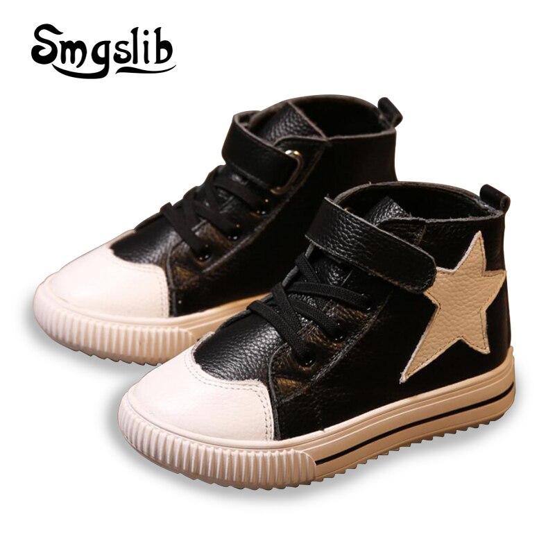 Smgslib Kinder Echtem Leder Turnschuhe kinder Mädchen Jungen Schuhe Stern Sneaker Kleinkind Schuhe Casual Schule Flache Trainer Sneaker