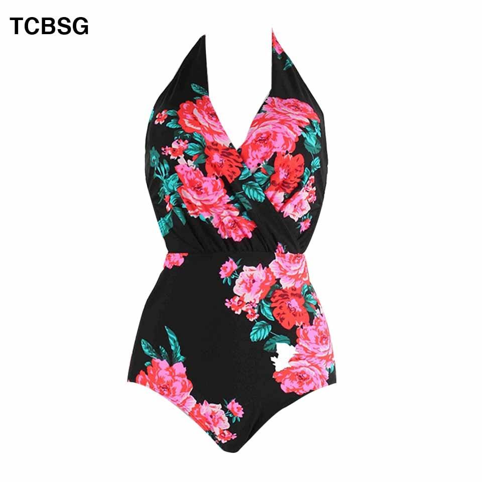 Raintropical Sexy Women Dot Beach Backless Swimsuit One Piece Swimsuit Push Size Swimwear Retro Print Bathing Suit Swim Wear