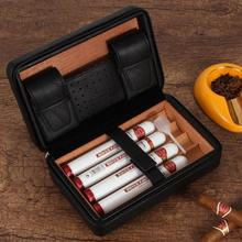 GALINER дорожный увлажнитель для сигар коробка из кедрового дерева кожаный чехол Портативный хьюмидор для 4 COHIBA коробка для сигар W/Подарочная ...