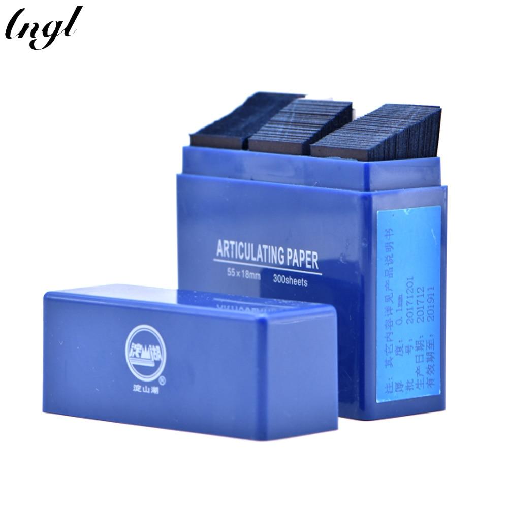 300 hojas/caja de tiras de papel articulado Dental azul Material de laboratorio de odontología Material Blanqueamiento Dental Oral 55*18mm herramientas dentales
