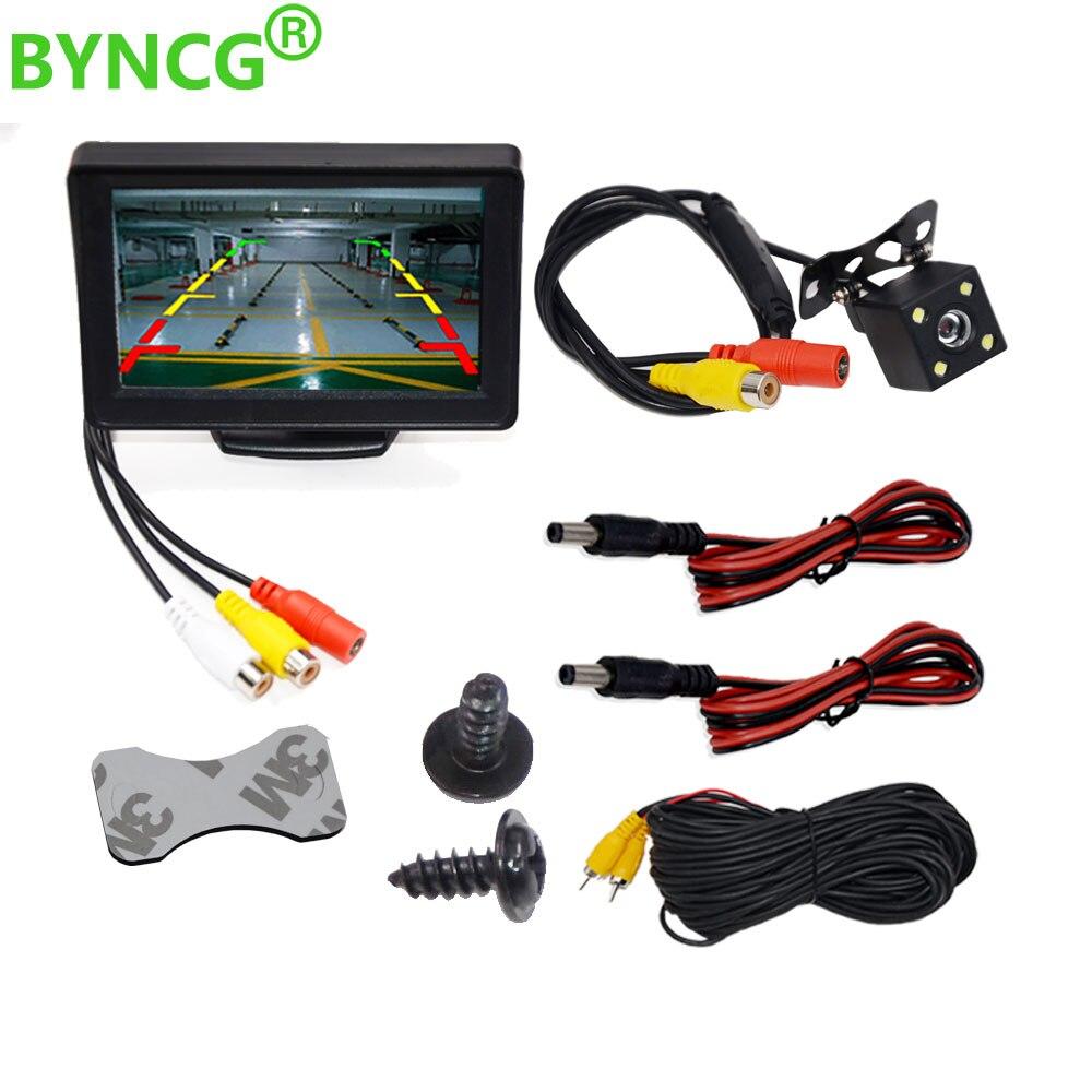 BYNCG 4,3 oder 5 Zoll TFT LCD Auto Monitor Display Reverse Kamera Parkplatz Backup-System für Auto Rück Monitore NTSC PAL