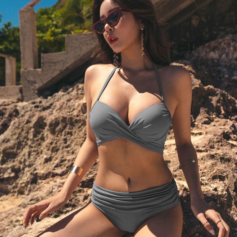 Push Up traje de baño Bikini mujeres negro Sexy vendaje Halter traje de baño media cintura separado trajes de baño mujer playa verano