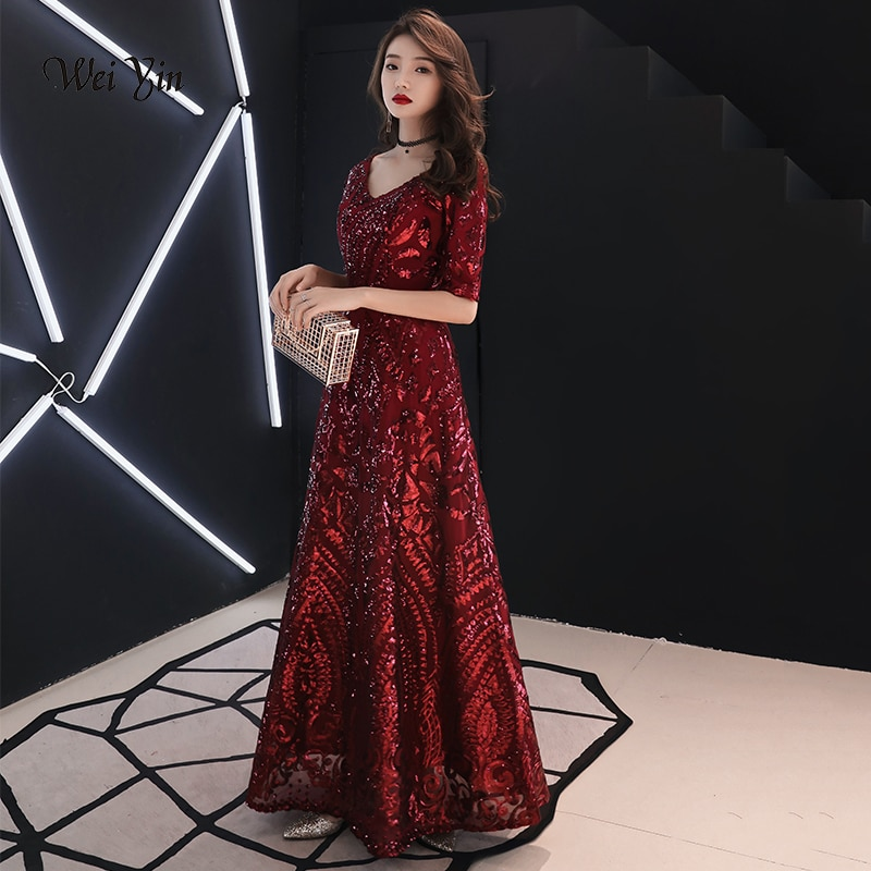 فستان سهرة نسائي بتصميم عتيق من wei yin, فستان سهرة بتصميم عتيق على شكل حرف v ونص كم من الترتر باللون الأحمر الخمري من موضة 2021