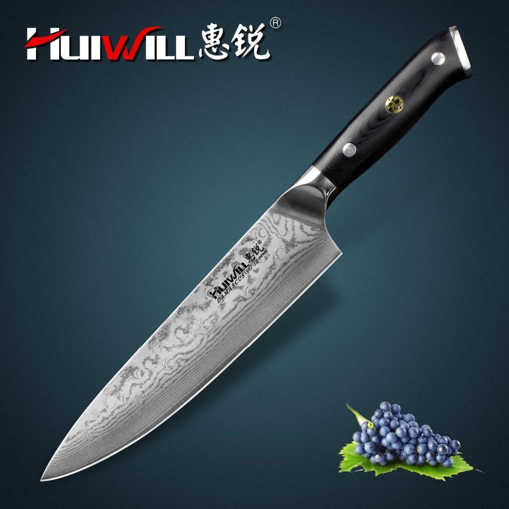 Huiwill-سكين مطبخ الشيف ، VG10 دمشق ، فولاذ ، 8 بوصة ، برشام فسيفساء ، جودة فائقة