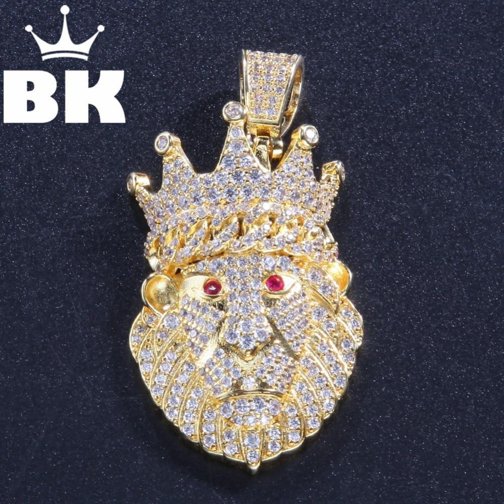O rei bling personalizado coroa leão da floresta colar hip hop completo iced para fora zircônia cúbica tira de ouro cz pedra