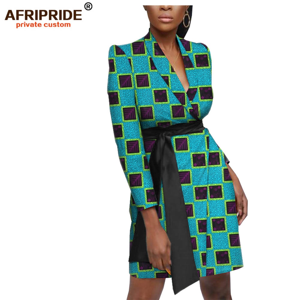 Ropa Africana casual mujeres vestido AFRIPRIDE manga completa mini vestido con bolsillos super cera algodón de talla grande A1924004