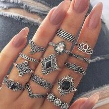 Conjunto de anillos Hippie bohemio de acero inoxidable para regalo de amante accesorios de moda para mujer 2019