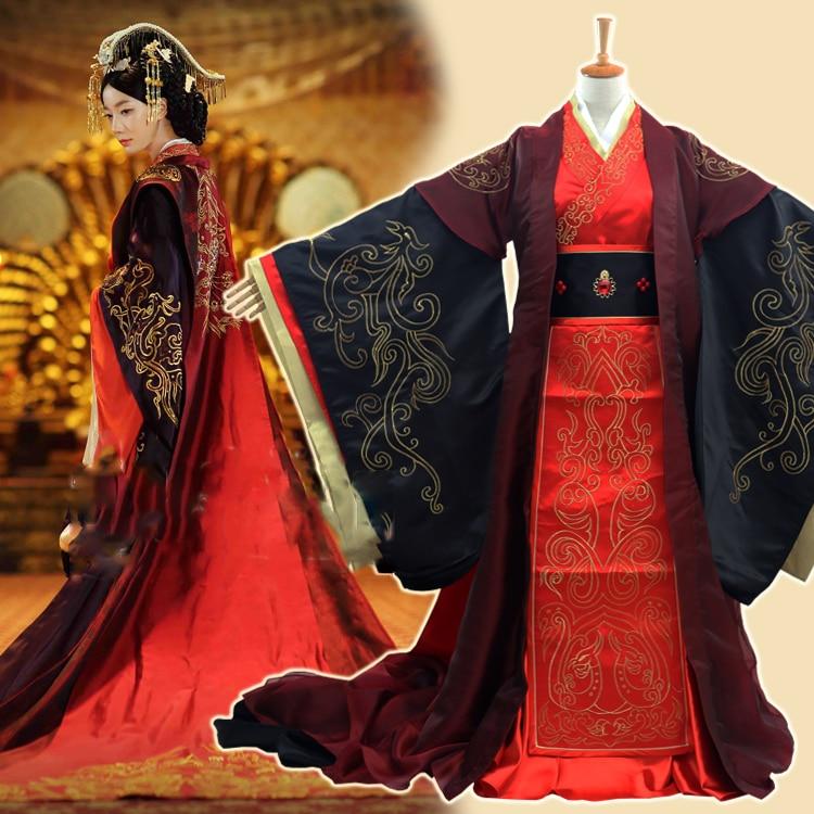 Традиционная вышивка династии ханьфу, Красная Вышивка, для свадьбы, для ТВ, для игры в сказочную королева Han Weizifu, женский костюм