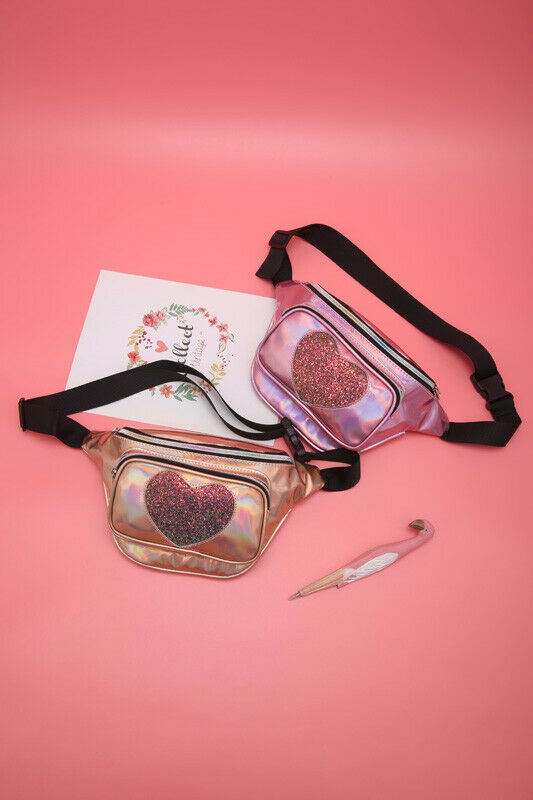 2019 Newest Hot Bum Bag Fanny Pack Travel Glitter Sequine Love Heart Star Waist Packs Women Holiday Money Belt Bag Leather Pouch
