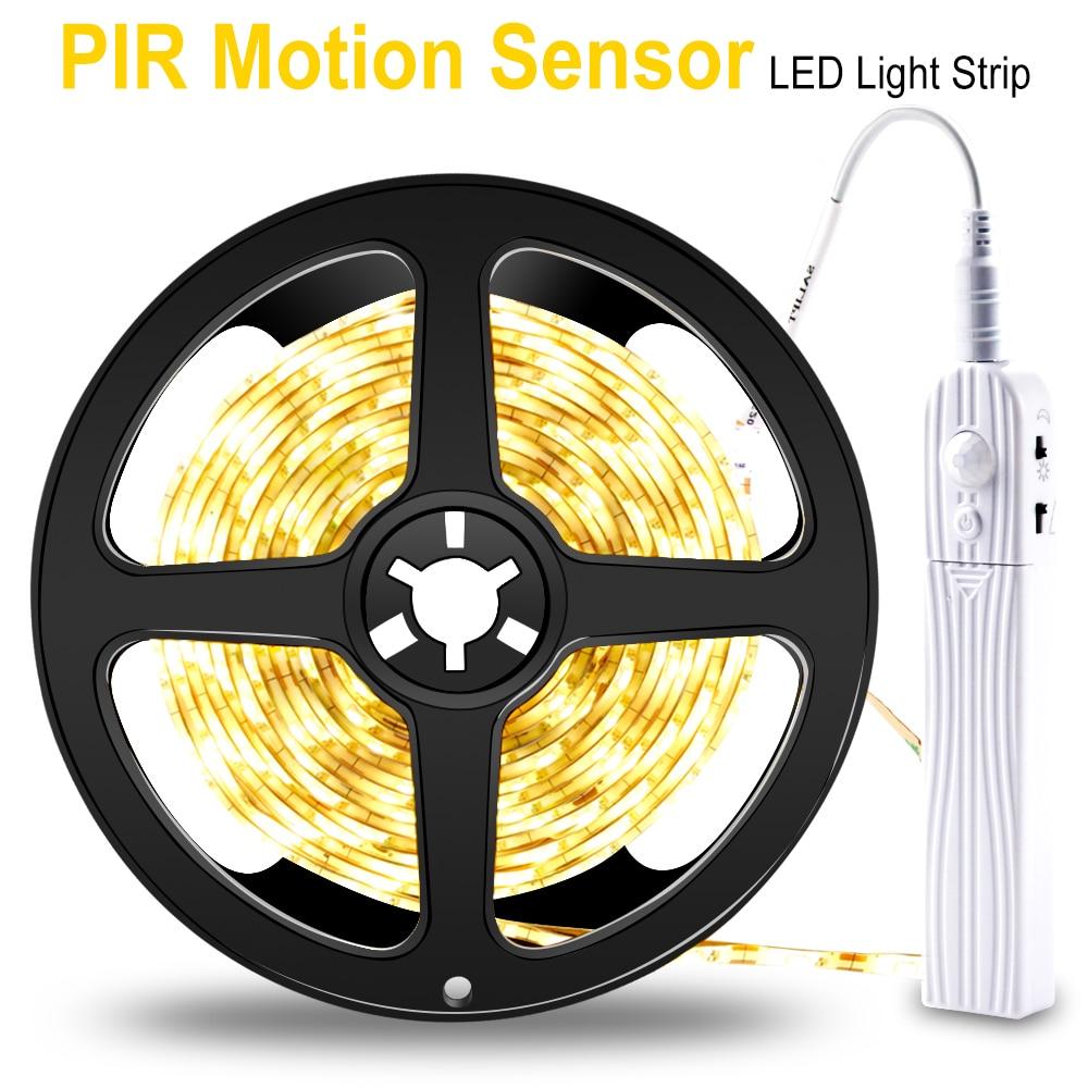 Tira de luz LED lámpara de pared LED Sensor de movimiento inalámbrico Fita LED tira de neón 5V cinta de la lámpara 1M 2M 3M armario decoración del hogar
