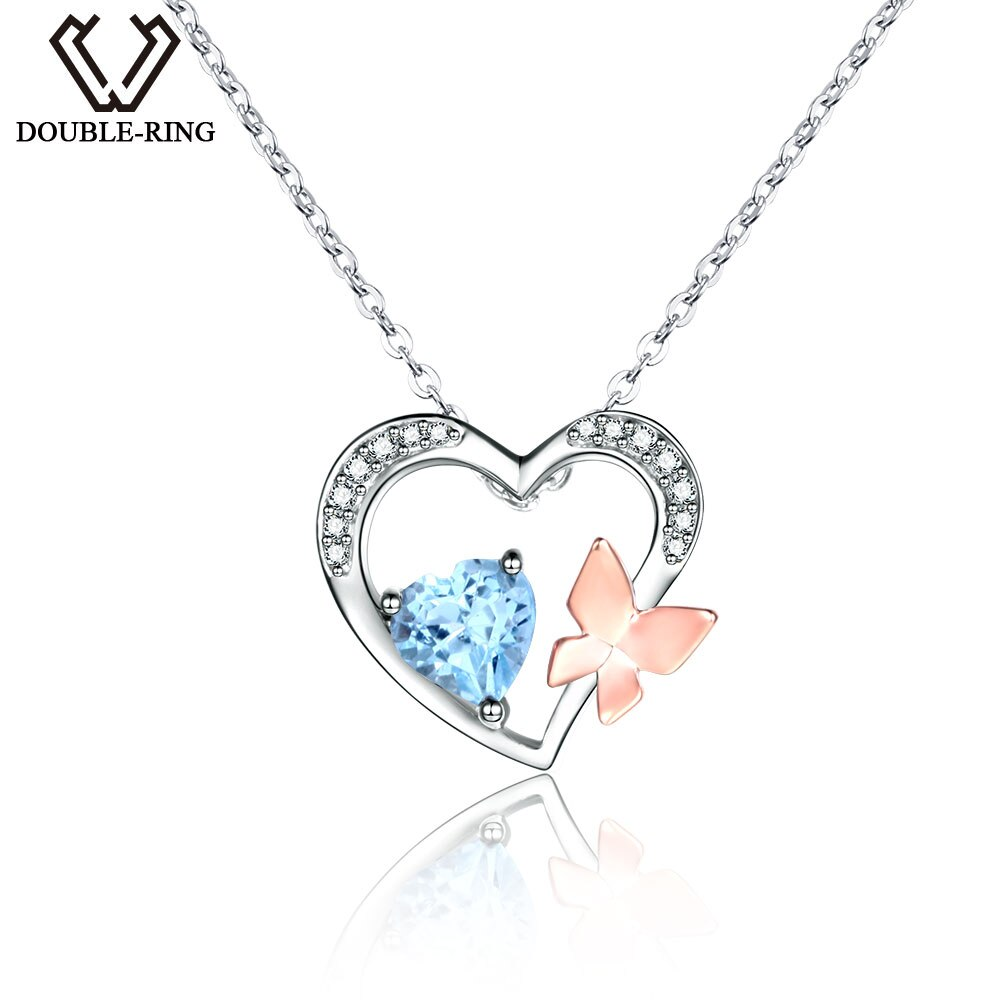 DOUBLE-R colgantes de corazón de Topacio azul Natural genuino Plata de Ley 925 auténtica collares con piedras preciosas naturales joyería fina