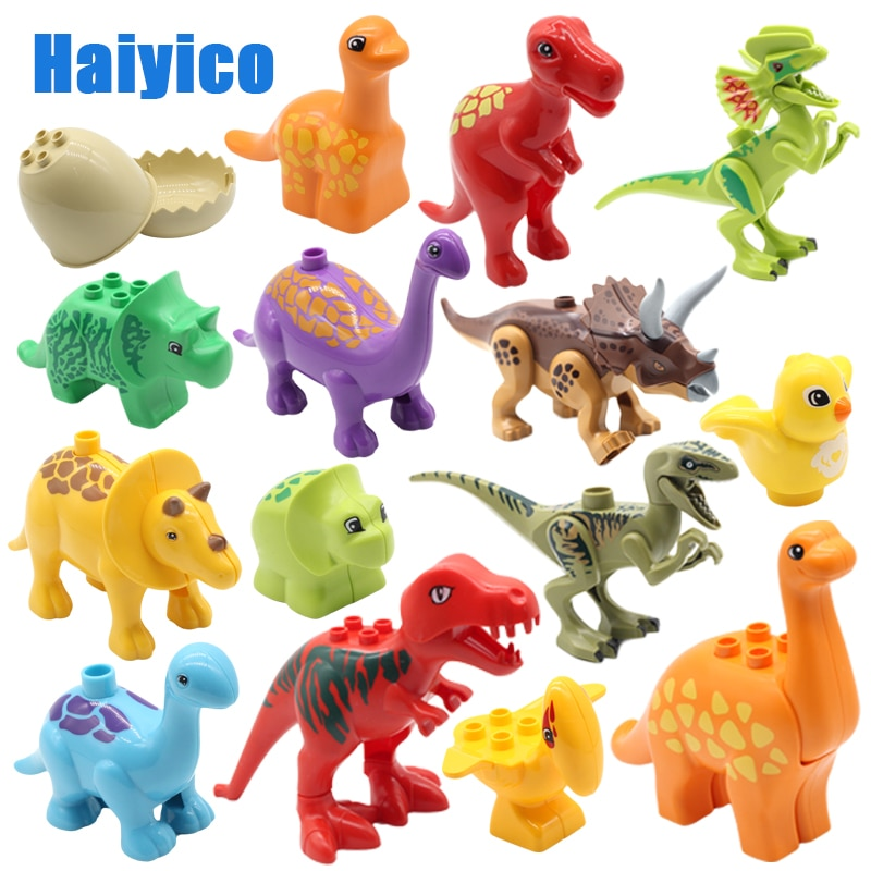 La educación de la Asamblea edificio grande bloques Jurásico dinosaurio modelo suplemento accesorios compatibles los Duplos niño Durable juguetes regalo