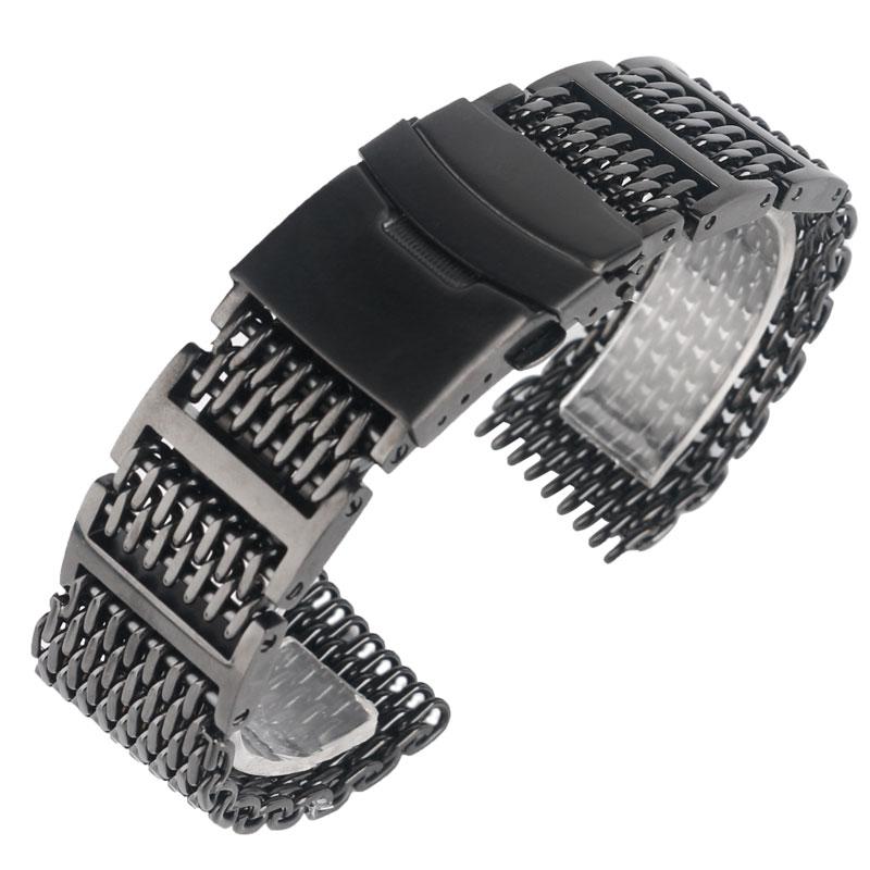 20/22/24mm Cool exceptionnel requin maille bracelet de montre noir bracelet de montre bracelet de luxe solide lien en acier inoxydable de remplacement