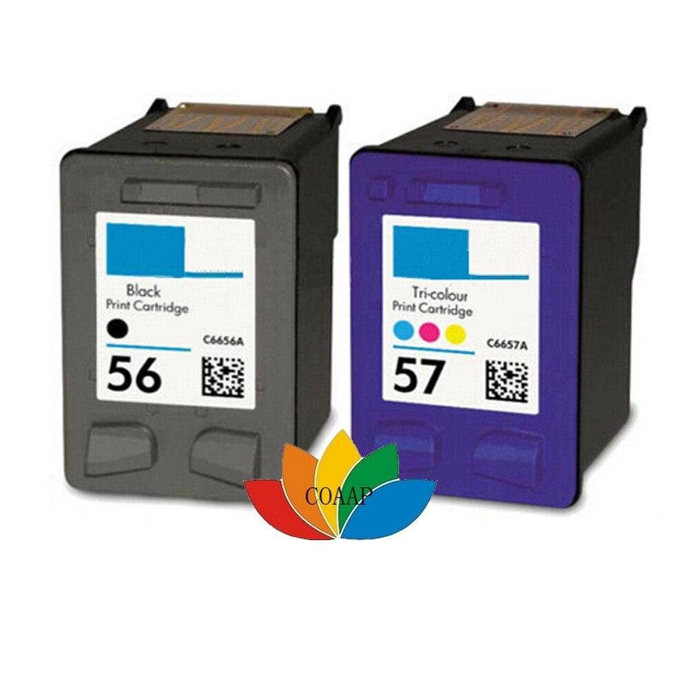 2pk Replacement ink cartridge for HP 56 57 Refilled for Deskjet 450Cbi 450Ci 450wbt 5650 5652 5550 5160 9600 9650 9680 Printer