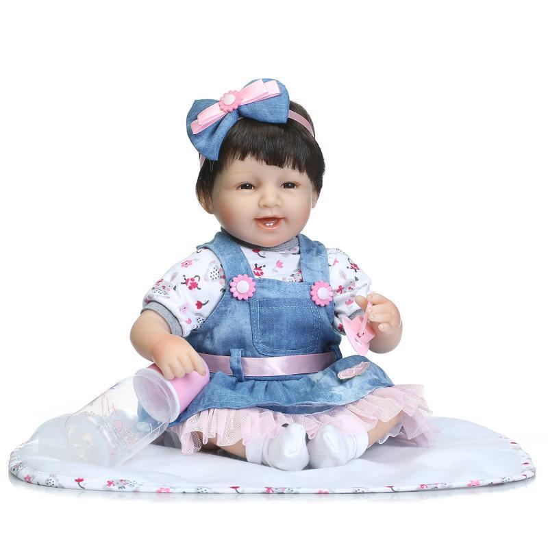 Nicery 16-18 pulgadas 40-45cm Bebe muñeca Reborn silicona suave niño niña juguete Reborn muñeco para regalar para niño vestido azul peluca pelo muñeca