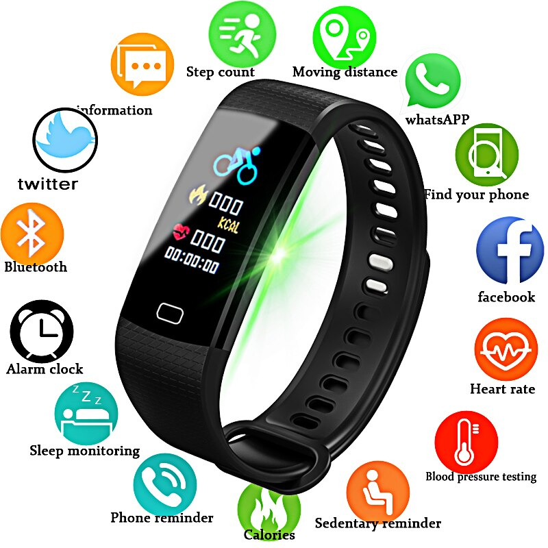 LIGE Fitness Women Smart Watch Men Bluetooth Heart Rate Blood Pressure Pedometer Clock LED Sport Smart bracelet For Android IOS ogeda smart watch men sports bracelet led waterproof smart wrist band heart rate blood pressure pedometer clock for android ios