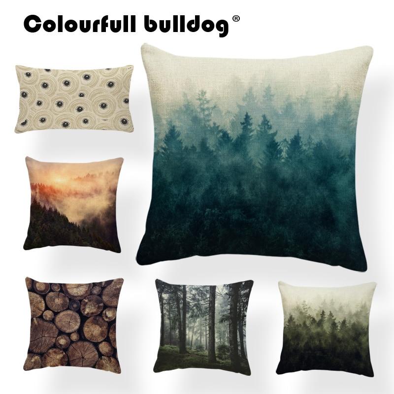 Cojín de planta, bosque, cañón, montaña, niebla, paisaje, Fundas de cojín de madera, hogar, decoración al aire libre, hogar, cojines 43X43, arpillera suave