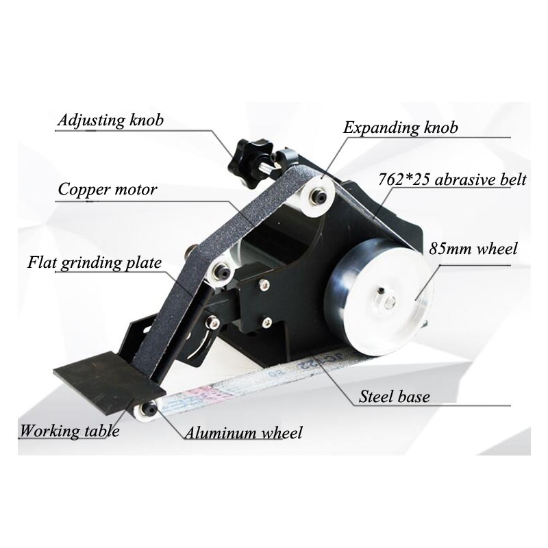 High quality D-762WS Brushless Belt Sander 800W Fixed Angle Sharpening Machine Got 6 Free Abrasive Belt with Sander wheel kit enlarge