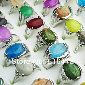 A-010  Wholesale Jewelry Lots 30pcs 100% Natural Stones Silver Plated Fashion Rings Free Shipping