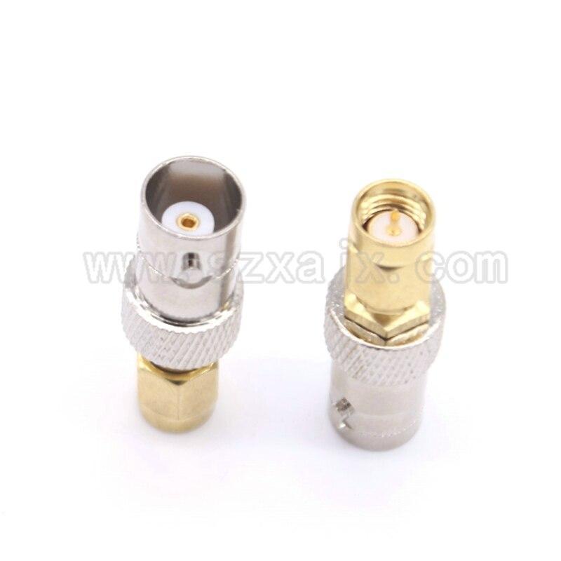 JX موصل 100 قطعة BNC إلى SMA محول BNC جاك أنثى النيكل تصفيح إلى SMA ذكر الذهب تصفيح جاك RF موصل مستقيم