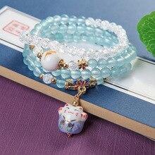 Mode coréenne belle Maneki Neko naturel bleu calcédoine pierre bouddha Bracelet Musica Blingbling Bracelet amitié cadeau