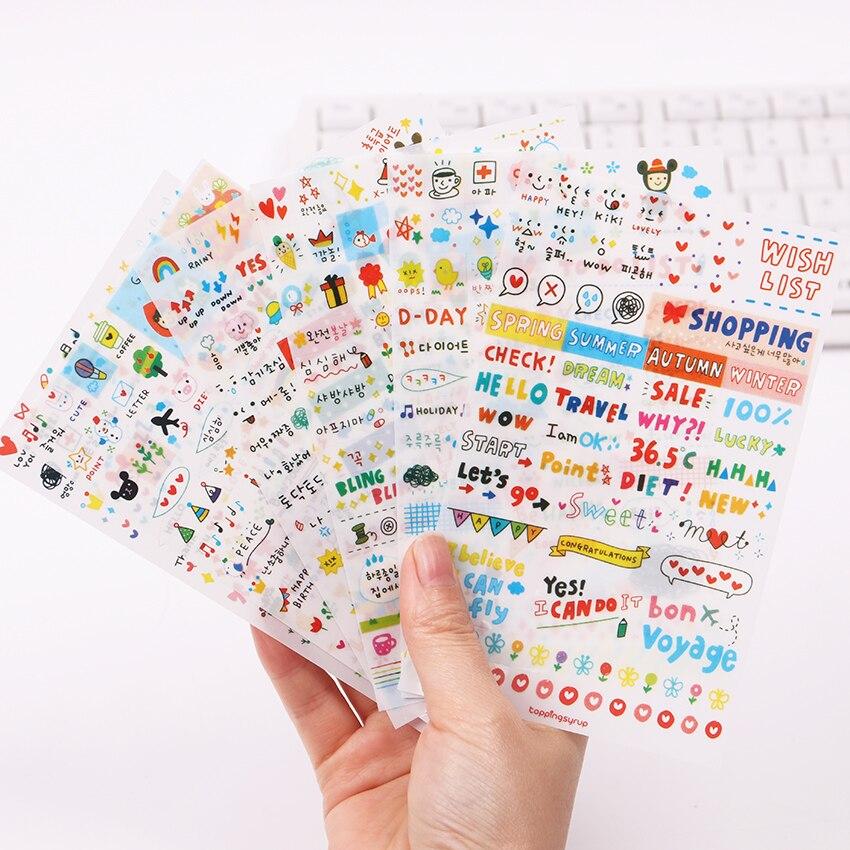 6 teile/satz von niedlichen zeichnung markt planer buch tagebuch dekorative spielzeug aufkleber PVC transparent sammelalbum