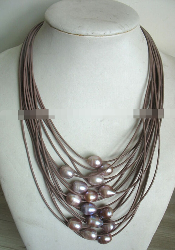 "Señorita encanto Jew1754 wow! 17 - 24 "" 15 rows perla de agua dulce púrpura collar de huevo"