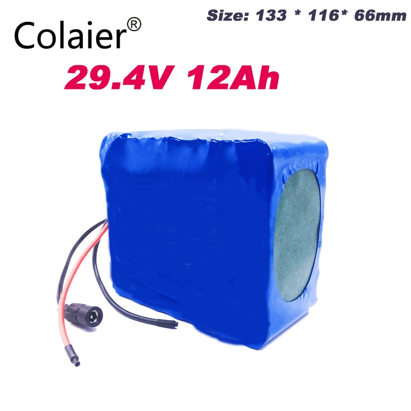 Colaier 24 فولت 12ah 7S6P بطارية حزمة 15A BMS 250 واط 29.4 فولت 12000 مللي أمبير بطارية حزمة ل كرسي متحرك المحرك الكهربائي