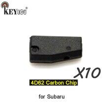 KEYECU 10x 4D62 Chip transpondedor llave de control remoto llave del coche con Chip de carbono Chip para Subaru