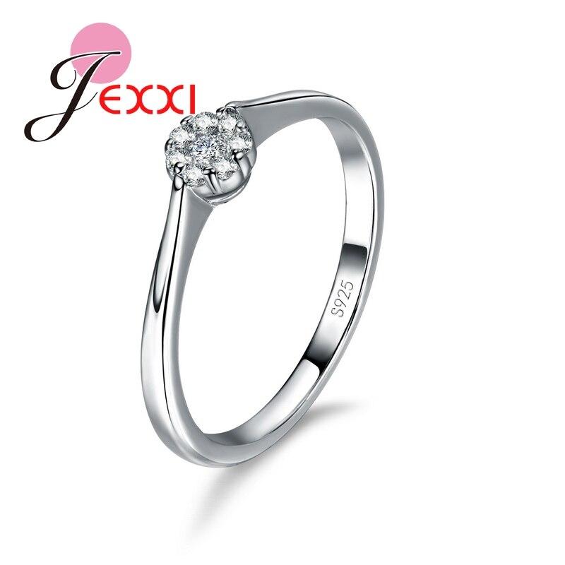 Anillo de compromiso de Plata de Ley 925 clásico de moda para mujer CZ anillo de cristal para mujer