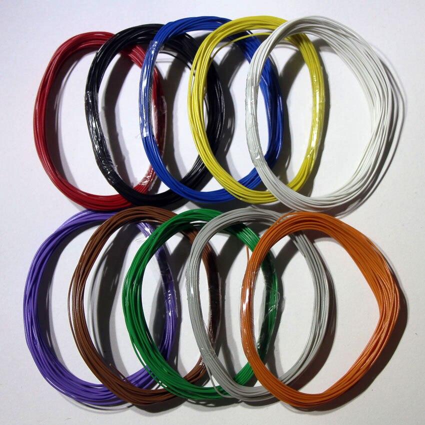Cable duro de una sola hebra estañado de 10 colores * 1m...