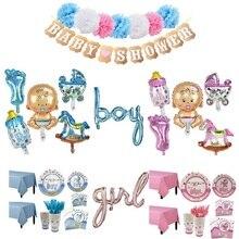 Roze/Blauw Geslacht Onthullen Servet Cup Tafelkleed Jongen Meisje Ballon Kids Baby Verjaardag Partij Gunst Decoratie Servies Levert