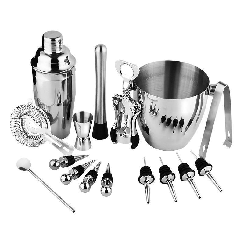 16pcs Cocktail Bar Set Stainless Steel Shaker Set Practical Bartender Kit