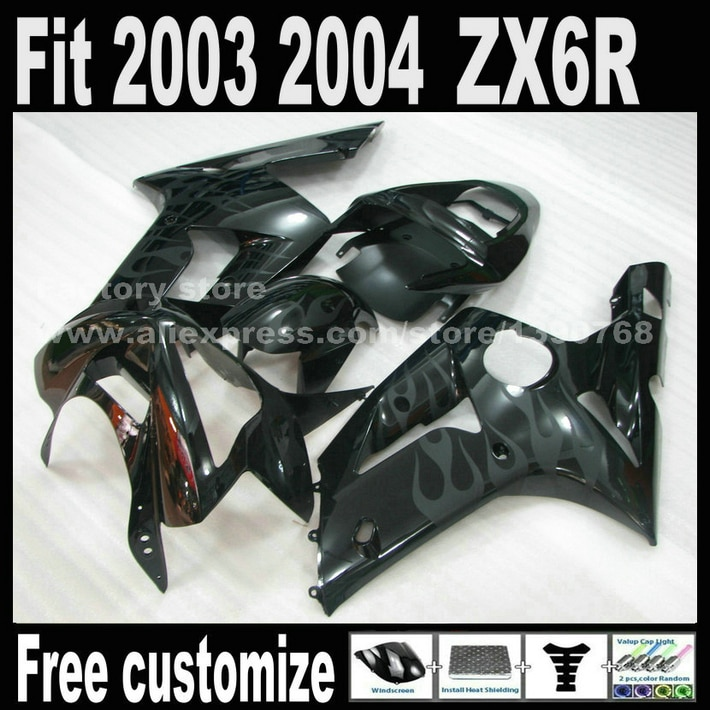 Factory Directly Bodywork For Kawasaki ZX6R Fairings 2003 2004  Ninja 636 Gray Flames In Black Fairing Kit ZX-6R 03 04 ZX636 Set