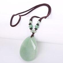 Goutte deau pierre naturelle Quartz cristal pendentif colliers pour femmes Aventurine Jade longue chaîne anniversaire femmes bijoux perles