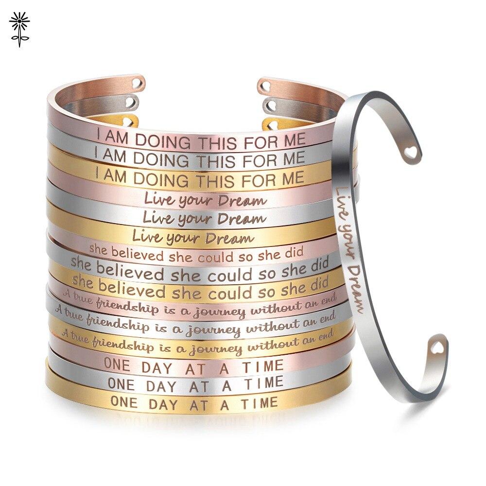 Розовое золото пользовательский лазер Выгравированный позитивный навевающий вдохновение браслеты с цитатами манжета мантра браслеты юбилейные подарки для женщин SL-009