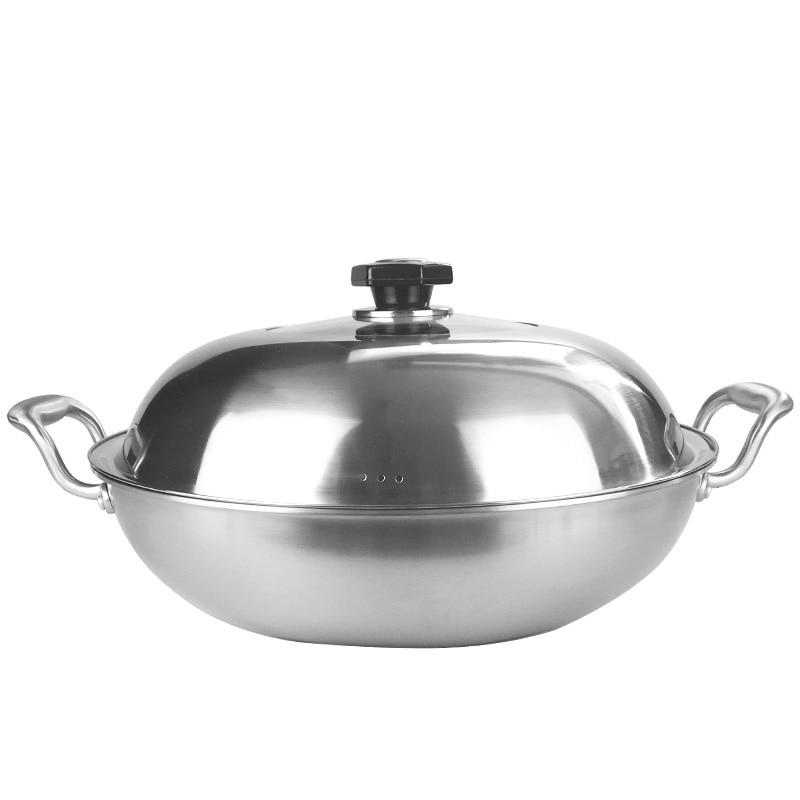 Большой Китайский Вок 304 нержавеющая сталь кастрюли и сковородки 40 СМ уши