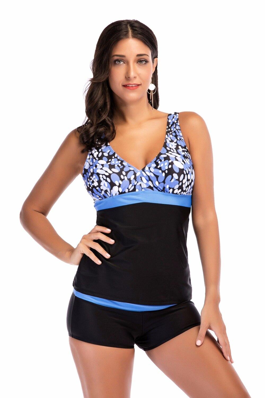 Más tamaño impreso patchwork Slim tankini establece traje de baño para las mujeres sexy floral boyshort bottom tankini traje de baño
