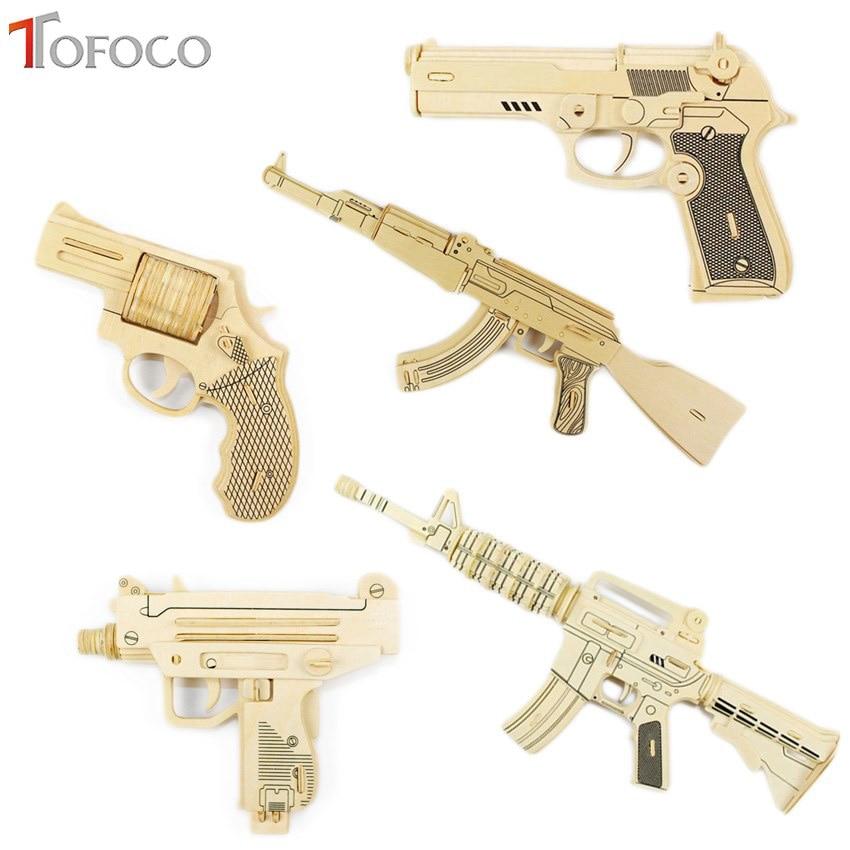 TOFOCO DIY Kids 3D Wooden Puzzle Gun AK-47 Model Assembling Kits IQ Educational Toys for Children