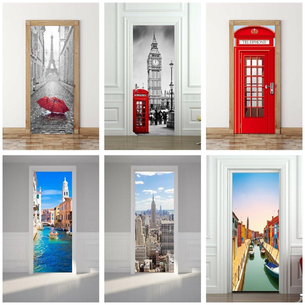 France Tower Big Ben Red Phone Booth Classic Car Church on Spilled Blood Venice Taj Golden Gate Bridge World Door Sticker