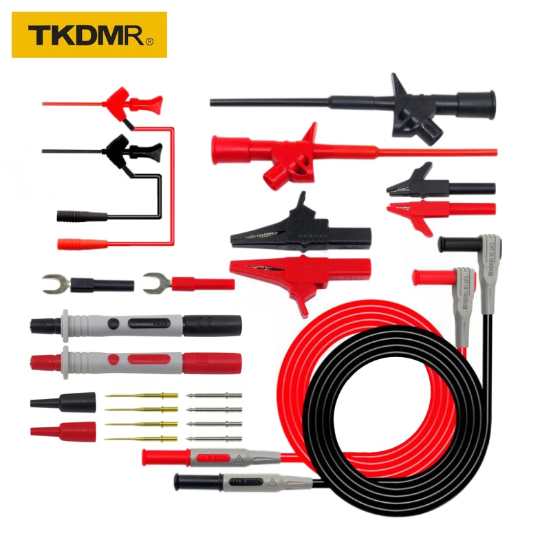 TKDMR Series Replaceable Multimeter Probe Test Hook&Alligator Clip Test stick Test Lead kits 4mm Banana Plug free shipping