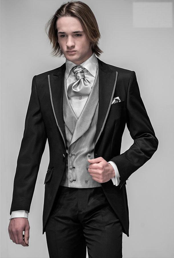 بدلة زفاف رجالي, شحن مجاني/أفضل بدلات زفاف رجالي أسود للعريس (جاكيت + سروال + فيست) لرفقاء العريس