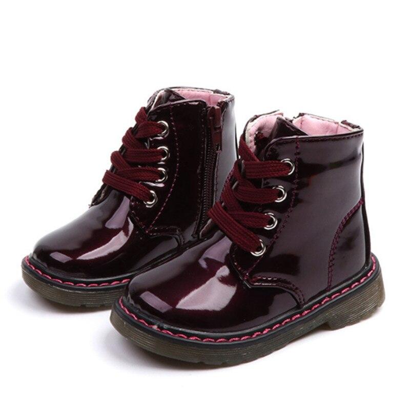 Botas de moda para niños y niñas, botas de nieve Martin sólidas para niños, bonitas botas hasta los tobillos de cuero PU para niñas, talla 21-30