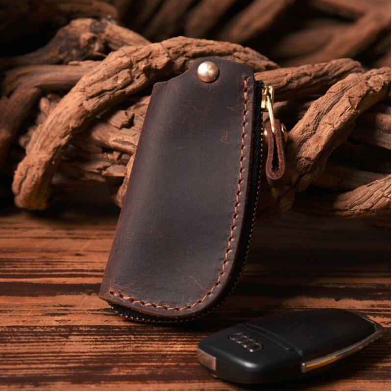 Handmade Crazy Horse Cowhide Retro Men Key Wallet Key Safe Hanger Keyring Pouch Bag Mul-tifunctional Key Organizer Card Case New