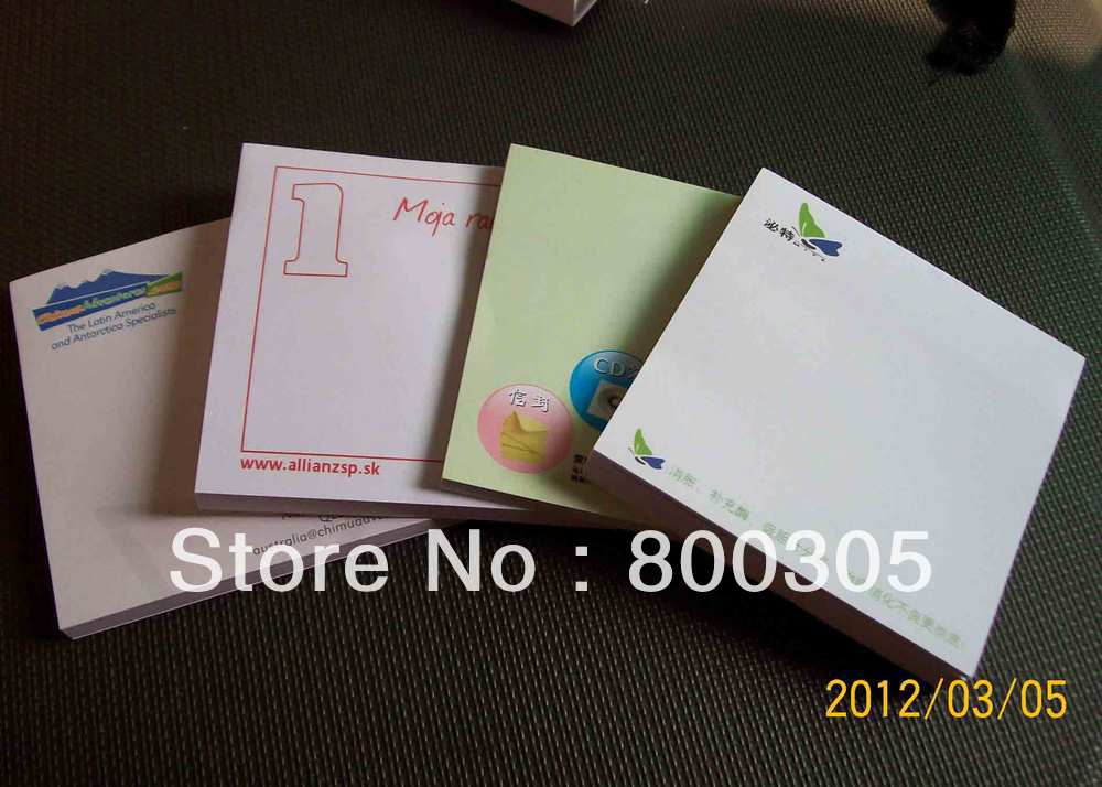 Logotipo personalizado sticky memo pad nota pad/Bloc de notas 75*75mm * 25 hojas 500 unids/lote