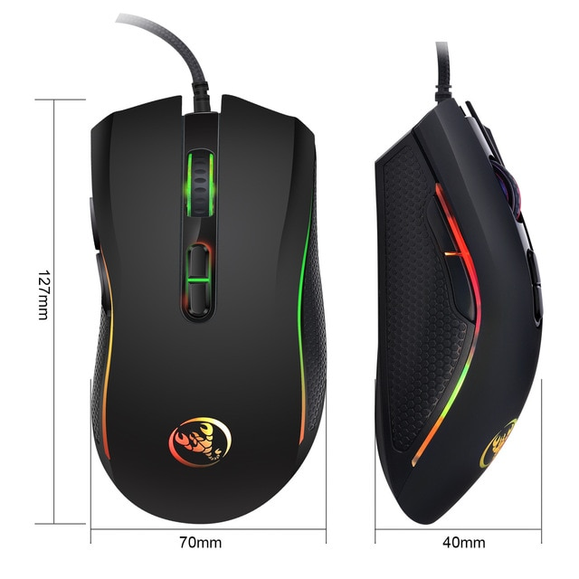 Hongsund brand High-end optical professional gaming mouse with 7 bright colors LED backlit and ergonomics design For LOL CS 6